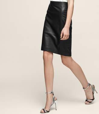 e05fc19547 Reiss OLIVIA Leather pencil skirt Black