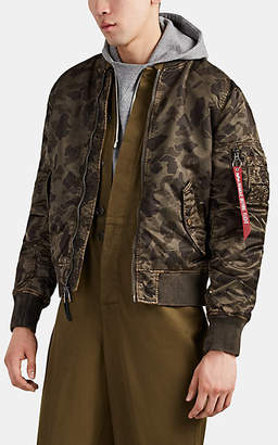 Alpha Industries Men's L2-B Camouflage Washed Tech-Satin Flight Jacket - Green