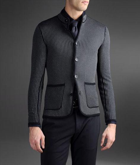 Armani Collezioni Cardigan-Style Jacket In Two-Tone Jacquard Fabric