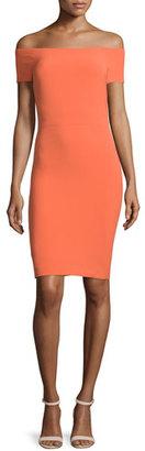 Alice + Olivia Aleah Off-the-Shoulder Ponte Sheath Dress, Orange $330 thestylecure.com