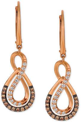 LeVian Le Vian Chocolatier Diamond Drop Infinity Earrings (1/2 ct. t.w.) in 14k Rose Gold