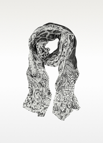 Roberto Cavalli Black and White Lace with Animal Print Silk Stole