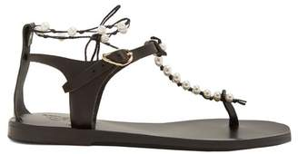 Ancient Greek Sandals Chrysso Faux Pearl Embellished Leather Sandals - Womens - Black