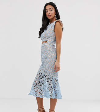 Jarlo Petite all over lace midi dress with cut-out detail in blue