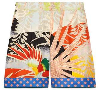 Gucci Tropical bird silk short