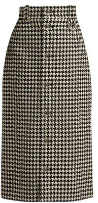 Balenciaga - Houndstooth Button Down Pencil Skirt - Womens - Black White