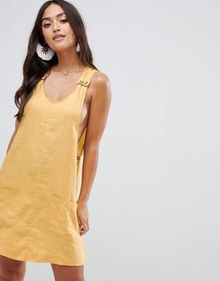 rhythm Amalfi linen pinafore in yellow