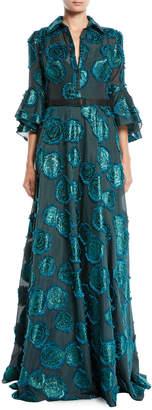 Badgley Mischka Floral Fil-Coupe Shirtwaist Gown w/ Belted Waist