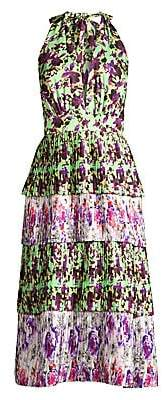 DELFI Collective Women's Jules Halter Tiered Midi Dress