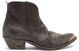 Golden Goose Young Distressed Leather Ankle Boots - Womens - Dark Grey
