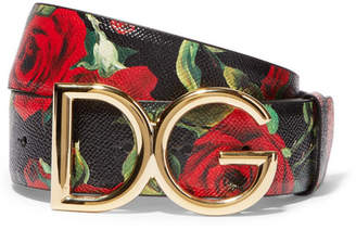 Dolce & Gabbana Floral-print Textured-leather And Gold-plated Belt - Black