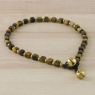 Forest Dreams Handmade Tiger's Eye and Brass Beaded Anklet from Thailand