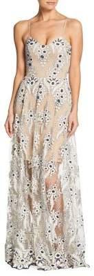 Dress the Population Carla Embellished Lace Maxi Dress