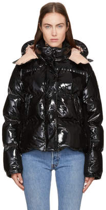Moncler Black Down Shiny Hooded Gaura Jacket