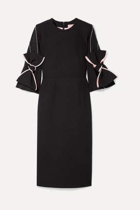 Roksanda Bow-embellished Satin-trimmed Crepe Dress - Black