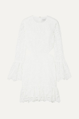 Rachel Zoe Isabel Cutout Ruffled Lace Mini Dress - White