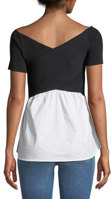 Nicole Miller New York Short-Sleeve Sweater with Shirttail Hem