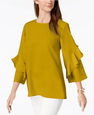 Alfani Ruffled-Sleeve Zip-Back Top