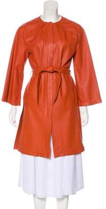 Thierry Mugler Leather Knee-Length Coat