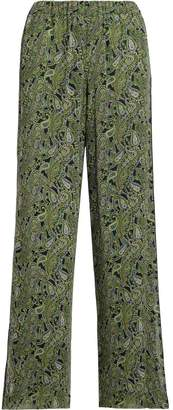 Michael Kors Pantalone In Georgette Verde E Blu