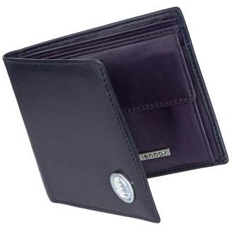 Drew Lennox - Luxury English Leather Men's Billfold Wallet in Black & Purple