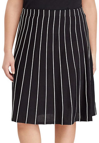 Lauren Ralph Lauren Lauren Ralph Lauren Plus Contrast Piped A-Line Skirt