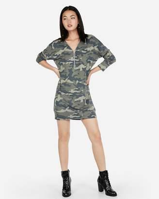 Express Camo Zip Front Sweatshirt Dress
