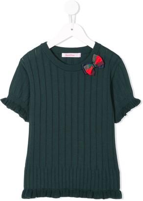 Familiar ribbed knit short ruffle sleeve top