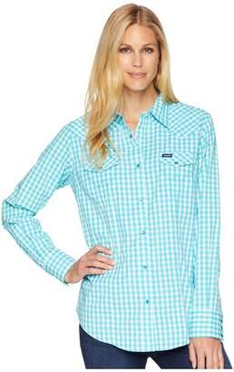 Wrangler Long Sleeve Woven Gingham Snap Women's Long Sleeve Button Up