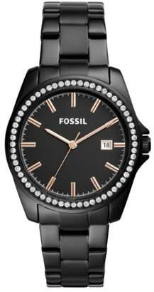 Fossil Janice Three-Hand Black Stainless Steel Watch Jewelry