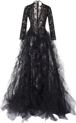 Oscar de la Renta Full Sleeve Lace Gown With Tulle Skirt