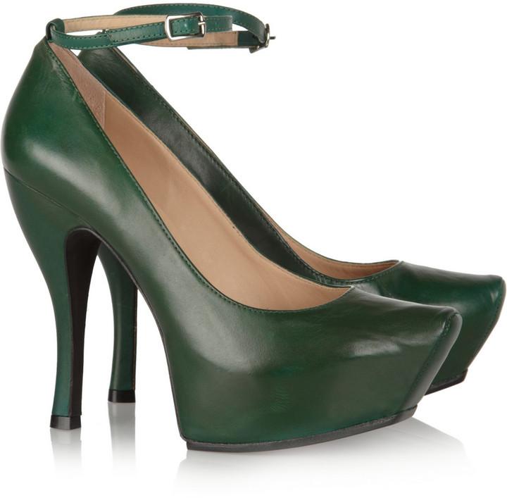 McQ Burlesque leather platform pumps