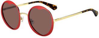 Kate Spade Rosarias Round Heart Metal Sunglasses