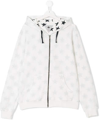 Macchia J Kids TEEN star print zipped hoodie