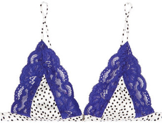 Charlotte Polka-dot Satin And Lace Soft-cup Triangle Bra - Royal blue