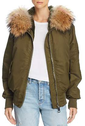Peri Luxe Fur-Trimmed Bomber Jacket - 100% Exclusive