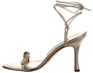 Manolo Blahnik Embellished Lace-Up Sandals