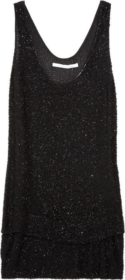 Diane von Furstenberg Desta beaded silk-chiffon blouse