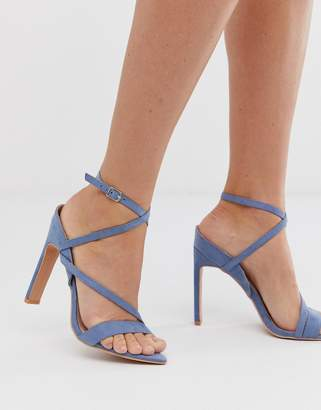 Lost Ink pointed strappy heeled sandals in light blue