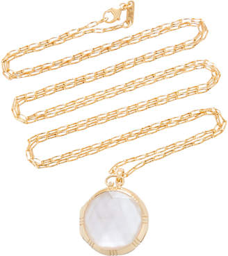 Monica Rich Kosann 18K Gold Crystal and Mother of Pearl Necklace