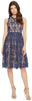 Donna Morgan Sleeveless Lace Midi with Contrast Lining Women's Dress