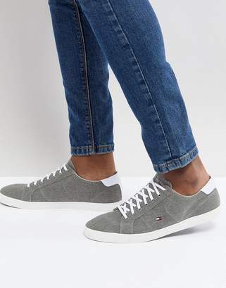 Tommy Hilfiger Essential Long Lace Canvas Sneakers in Gray