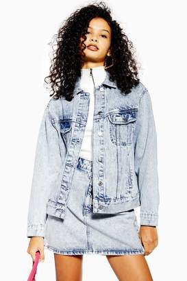 Topshop Womens Acid Wash Denim Jacket - Mid Stone