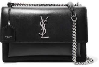 Saint Laurent Sunset Large Leather Shoulder Bag - Black