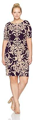 Connected Apparel Women's Plus Size Placement Scroll Print Sheath Dress