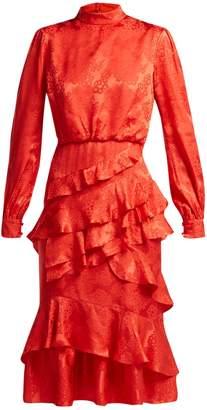 Saloni Isa floral-jacquard silk dress