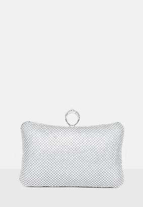 Missguided Silver Chainmail Box Clutch Bag, Grey