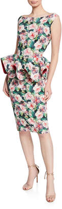 Chiara Boni Floral-Print Bateau-Neck Sleeveless Peplum Dress