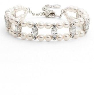 Women's Nadri Double Row Imitation Pearl & Crystal Bracelet $60 thestylecure.com