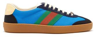 Gucci Web Nylon And Suede Trainers - Mens - Blue Multi